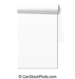 branca, caderno, notepad, em branco