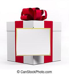 branca, caixa presente, com, fita vermelha, 3d