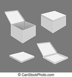 branca, caixas, em branco
