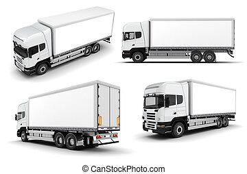 branca, caminhão, fundo,  3D
