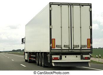 branca, caminhão, parte traseira, rodovia