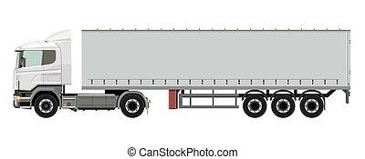 branca, caminhão, reboque