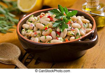 branca, cannellini, salada feijão