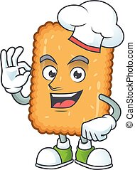 branca, caricatura, estilo, chapéu, desenho, biscoito, desgastar, cozinheiro, orgulhosamente