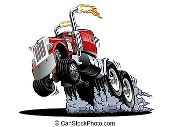 branca, caricatura, fundo, isolado, caminhão, semi