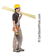 branca, carpinteiro, fundo