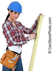 branca, carpinteiro, fundo, femininas