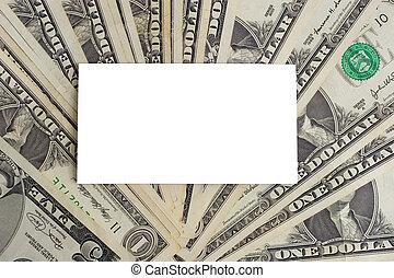 branca, cartão papel, ligado, dólares