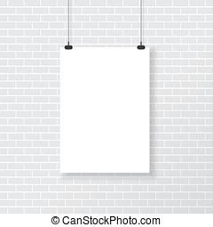 branca, cartaz, ligado, parede tijolo