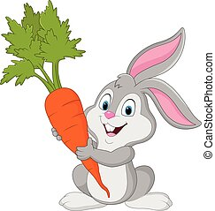 branca, cenoura, coelho, isolado, fundo