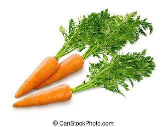 branca, cenouras, isolado