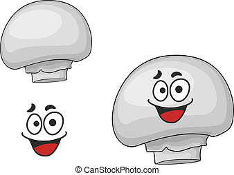 branca, champignon, cogumelo comestível, feliz