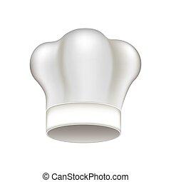 branca, chapéu cozinheiro, ícone