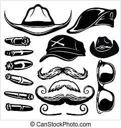 branca, chapéus, óculos, charuto, -, isolado, pretas, jogo, fundo, gângster