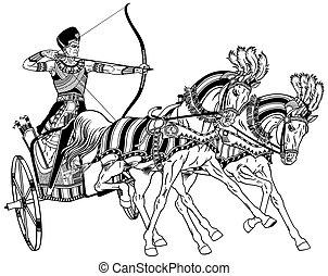 branca, chariot, pretas, egípcio