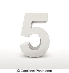 branca, cinco, número, textura