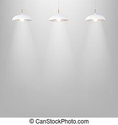 branca, cinzento, parede, lâmpada