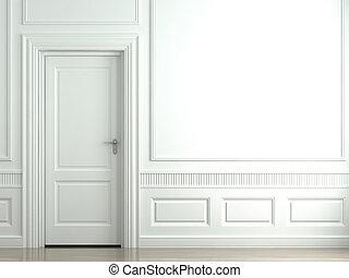 branca, clássicas, parede, com, porta