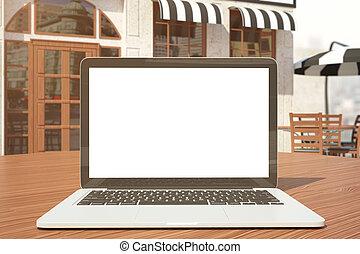 branca, closeup, laptop, vazio
