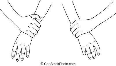 branca, cobrança, fundo, mão