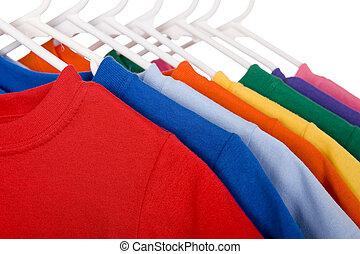 branca, coloridos, camisetas