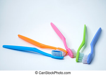 branca, coloridos, toothbrushes, isolado