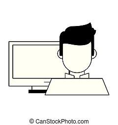 branca, computador, homem preto