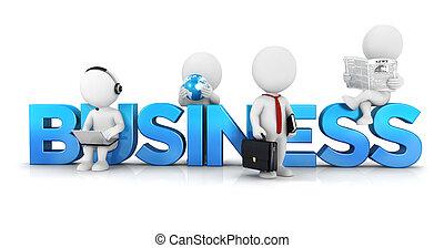 branca, conceito, 3d, pessoas negócio