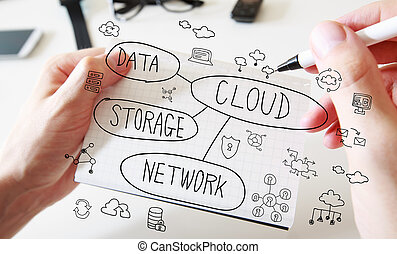 branca, conceito, nuvem, caderno, computando