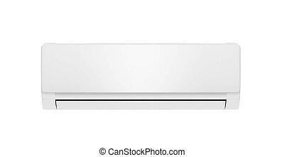 branca, condicionador ar, isolado, branco, fundo