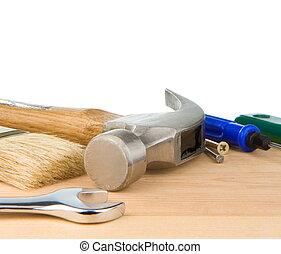 branca, construção, ferramentas, isolado