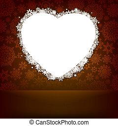 branca, coração, feito, com, snowflakes., eps, 8