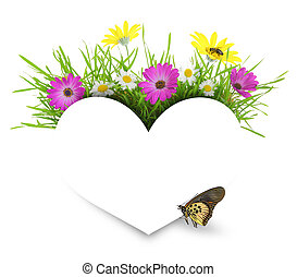 branca, coração papel, com, flores, capim, e, copy-space,...