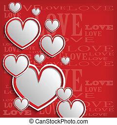 branca, corações, ligado, um, experiência vermelha