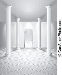 branca, corredor, com, colunas