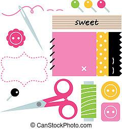 branca, cosendo, needlework, acessórios, isolado