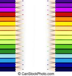 branca, creions, fundo, coloridos, 3d