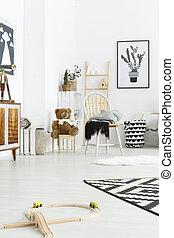 branca, criança, cadeira, sala