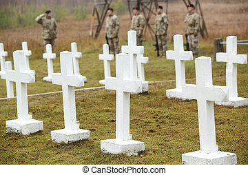 branca, cruzes, em, a, latvian, cemitério guerra