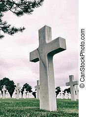 branca, cruzes, em, americano, cemitério
