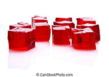 branca, cubos, geléia, fundo, vermelho