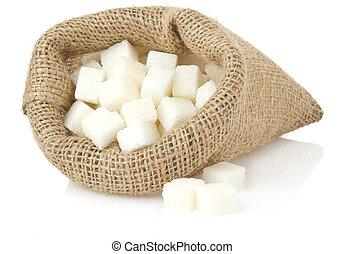 branca, cubos, isolado, açúcar