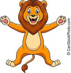 branca, cute, leão, fundo, caricatura