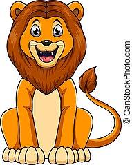 branca, cute, leão, sentando, fundo, caricatura