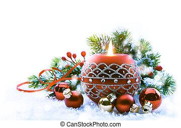 branca, Decorações, Natal, fundo