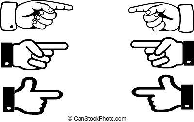 branca, dedo indicador, ponteiro, fundo, mão