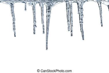 branca, descongelar, isolado, icicles
