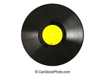 branca, disco, antigas, isolado, vinil