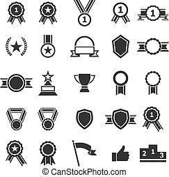 branca, distinção, fundo, ícones