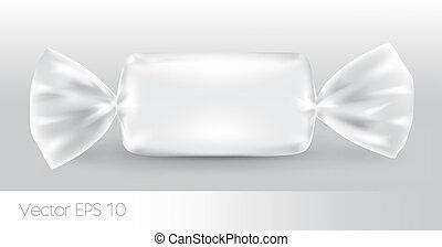 branca, doce, package., retangular